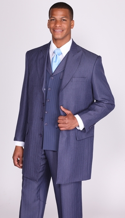 Milano Moda Navy  Herringbone Lapel Vested Church Suits 3106 - click to enlarge