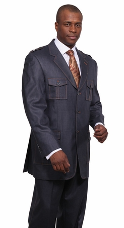 Milano Moda Navy Military Style Urban Men Suits 5606 - click to enlarge