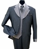 Milano Moda Navy Striped Cuffed  Vested  Men Church Suits 2911V