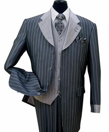 Milano Moda Navy Striped Cuffed  Vested  Men Church Suits 2911V - click to enlarge