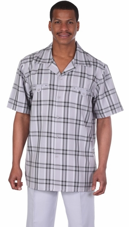 Milano Moda Silver Plaid Short Sleeve Walking Suits 2952 - click to enlarge