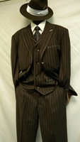 1940 Style Zoot Suit by Milano Brown with White Gangster Style Stripe 3 Piece 5903VSize 56L Reg Final Sale