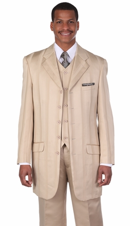 Milano Moda Tan Fashion Stripe Lapel Vested Church Suits 28352 - click to enlarge