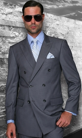 Mens Statement Fine Wool Charcoal Double Breasted Suits TZD-100 Size 48 Reg Final Sale - click to enlarge