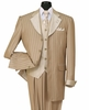 Milano Moda Tan Striped Cuffed  Vested  Men Church Suits 2911V