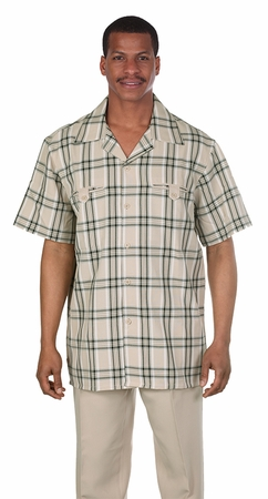 Mens Short Sleeve Walking Suit Taupe Plaid Milano 2952 - click to enlarge