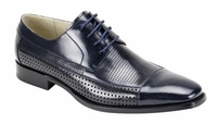 Giovanni Mens Leather Perforated CapToe Navy Fashion Dress Shoes Diego
