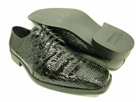 Miralto Mens Shiny Black Exotic Print High Fashion Shoes CR108 IS - click to enlarge