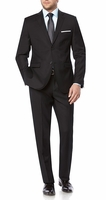 Modern Black Fitted Suit for Men Flat Front Pants Vittorio A62W