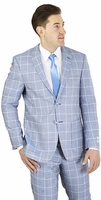 Modern Fit Suit Mens Chambray Blue Square Pattern Lorenzo Bruno M62CB