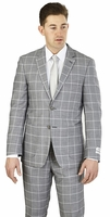 Modern Fit Suit Mens Chambray Grey Square Plaid Lorenzo Bruno M62CB