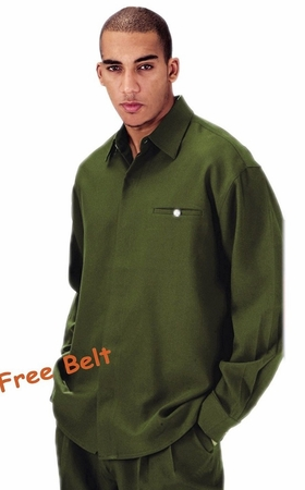 Fortini Big Mens Size Olive Long Sleeve Walking Suits 2612X - click to enlarge