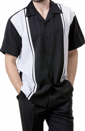 Montique Black White Panel Short Sleeve Walking Suit 690 - click to enlarge