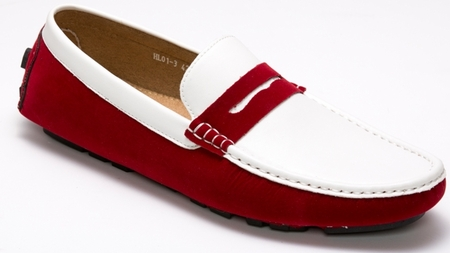 Montique Burgundy and White Penny Driving Shoes S-06 IS - click to enlarge