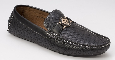 Montique Men's Black Woven Style Casual Driver Shoes S74 - click to enlarge