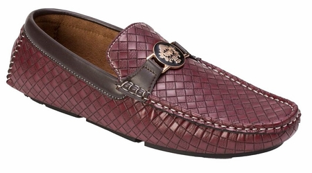 Montique Men's Burgundy Woven Style Casual Driver Shoes S74 - click to enlarge