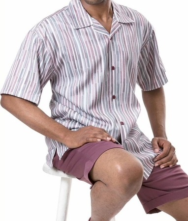 Montique Men's Mauve Stripe Casual Fashion Short Set Outfits 711 - click to enlarge