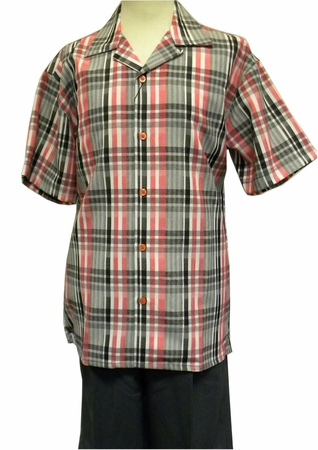 Montique Men's Red Plaid Casual Fashion Short Set Outfits 785 - click to enlarge