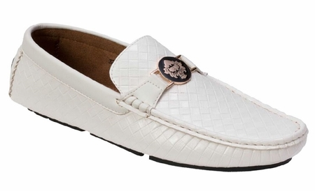 Montique Men's White Woven Style Casual Driver Shoes S74 - click to enlarge