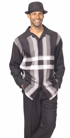 Montique Mens Black Gray Cross Stripe Long Sleeve Walking Suits 1796 - click to enlarge