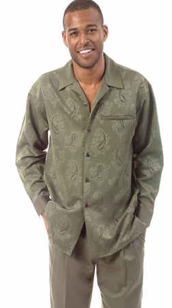 Montique Mens Olive Paisley Long Sleeve Walking Suits 1124 - click to enlarge