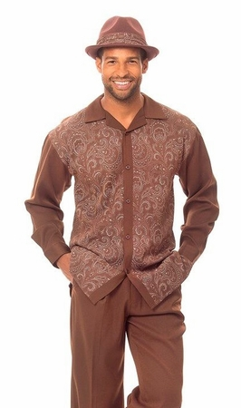Montique Mens Brown Paisley Front Casual Walking Suit 1626 - click to enlarge