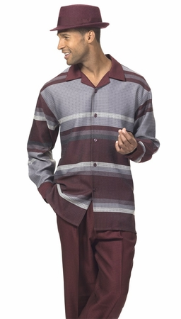 Montique Mens Burgundy Shirt Pants Casual Suit 1719 - click to enlarge