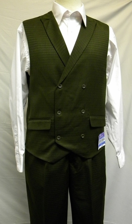 Blu Martini Olive Mat Vested Vest and Pants Outfit 5466-063 - click to enlarge