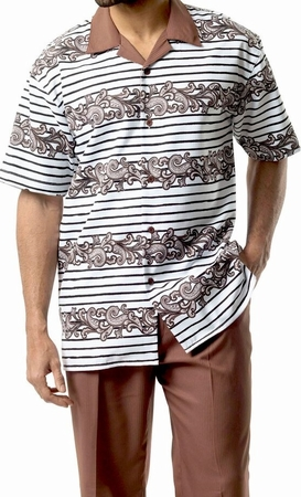 Montique Mens Short Sleeve Dressy Outfit Walking Suit Taupe 1742 - click to enlarge