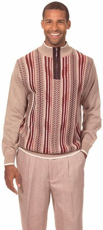 Montique Mens Fancy Sweater and Pants Set Beige 1703 - click to enlarge