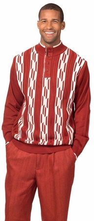 Montique Mens Fashion Sweater and Pants Set Rust 1702 - click to enlarge