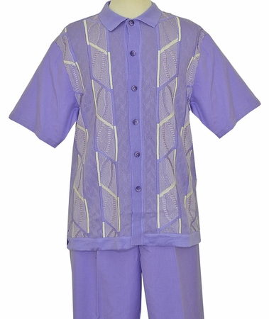 Silversilk Clothing Mens Lavender Knit Front Casual Outfit 9304 - click to enlarge