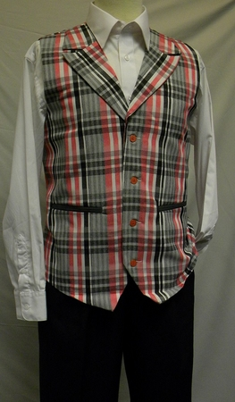 Montique Mens Red Charcoal Plaid Dressy Vest and Pants Set - click to enlarge