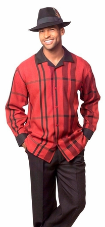 Montique Mens Red Pattern Casual Leisure Walking Suit 1629 - click to enlarge