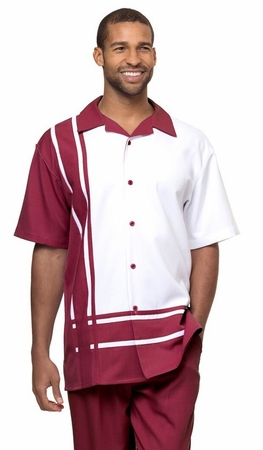 Montique Mens Short Sets Burgundy Block Pattern Outfit 7877 - click to enlarge