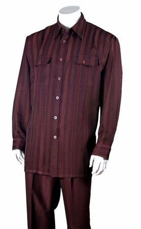 Fortini Mens Burgundy Stripe Casual Two Piece Walking Set 2761 - click to enlarge