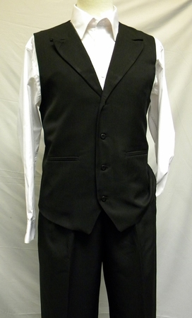 Montique Mens Solid Black Dressy Vest and Pants Set - click to enlarge