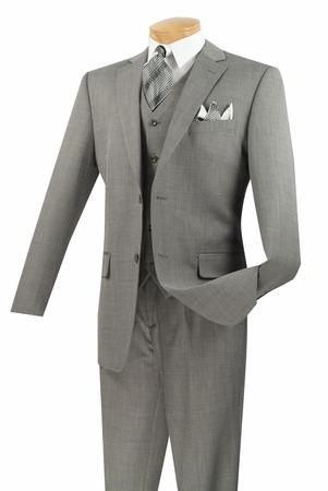 Vinci Grey Textured Mens 3 Piece Suit V2RK-2 - click to enlarge