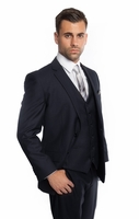 Navy Blue 3 Piece Suit Mens Solid Color Regular Fit Tazio M302-02