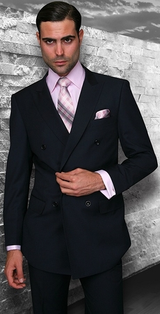 Statement Mens Double Breasted Solid Navy Wool Suits TZD-100 Size 40 Reg Final Sale  - click to enlarge