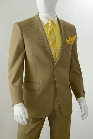 Orsini by Vittorio St. Angelo Khaki Regular Fit 2 Button 2 Piece Suits D62T - click to enlarge