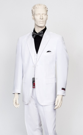 Pacelli Mens White Special Occasion Dress Suit Bronson - click to enlarge
