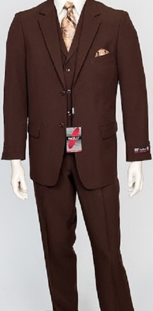 Pacelli Mens Brown 3 Piece Lapel Vest Dress Suit Cameron 10002 - click to enlarge