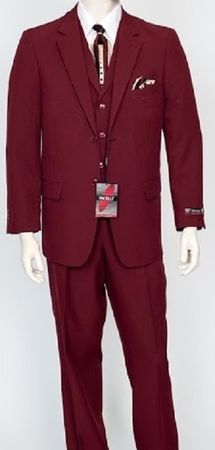 Pacelli Mens Burgundy 3 Piece Lapel Vest Dress Suit Cameron 10006 - click to enlarge