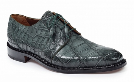 Mauri Alligator Shoes Mens Olive Green Lace Up Italy Massari 1003 - click to enlarge