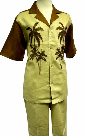 Prestige Mens Irish Linen Walking Suit Toffee Palm Design LUX778 - click to enlarge