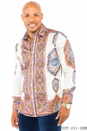 Prestige Designer Shirt Mens Cream Tapestry No Tuck Button Down COT-232 - click to enlarge