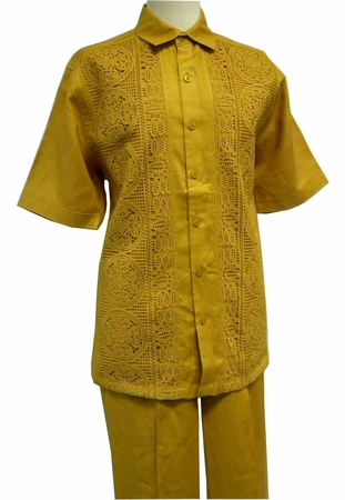 Prestige Mens Irish Linen Walking Suit Mustard Gold Mesh LUX799 - click to enlarge