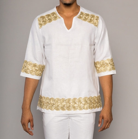 Prestige Irish Linen Tunic Shirt Pants Set Mens White Gold Design LUX-892 - click to enlarge