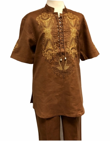 Prestige Linen Leisure Suit Mens Toffee Brown Dashiki Style LUX-774 - click to enlarge